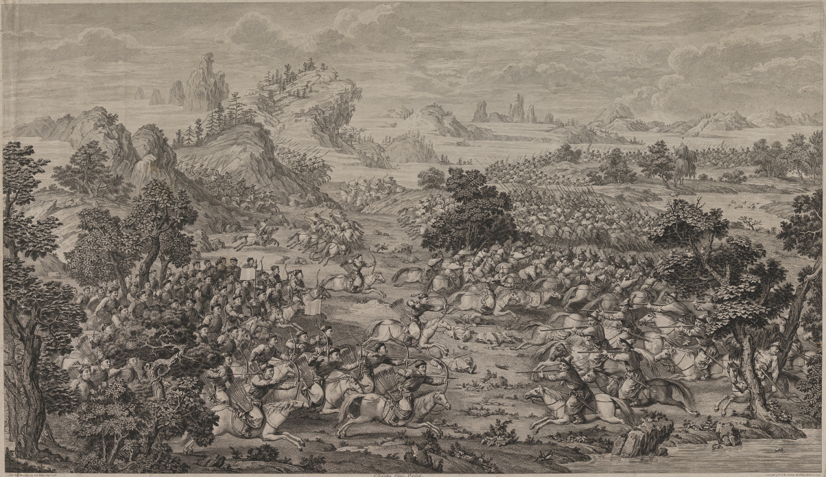 Battle of Khorgos between Qing army (left) and Dzungars, 1758 (the engraving of 18th century, made in France)