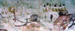 St. Ladislaus chasing the Cuman warriors. Church in Karaszkó Slovakia, frescoes from the 14th century.